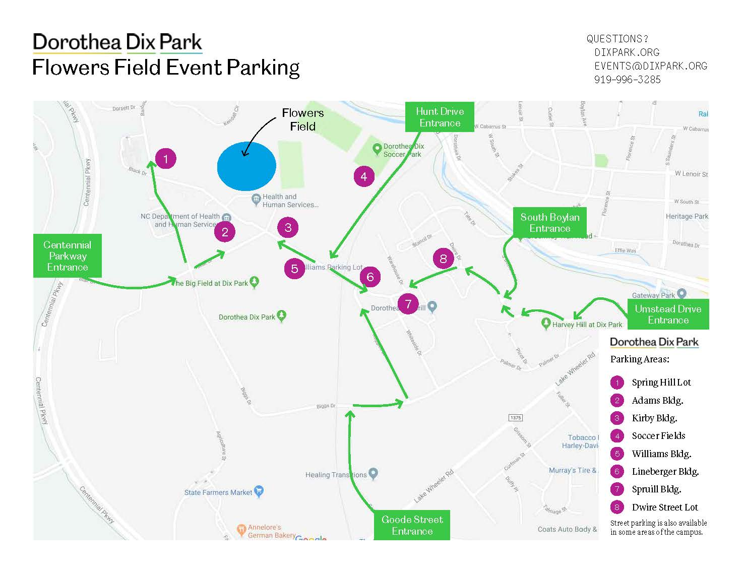 Dix Park Event Parking Map for Flowers Field